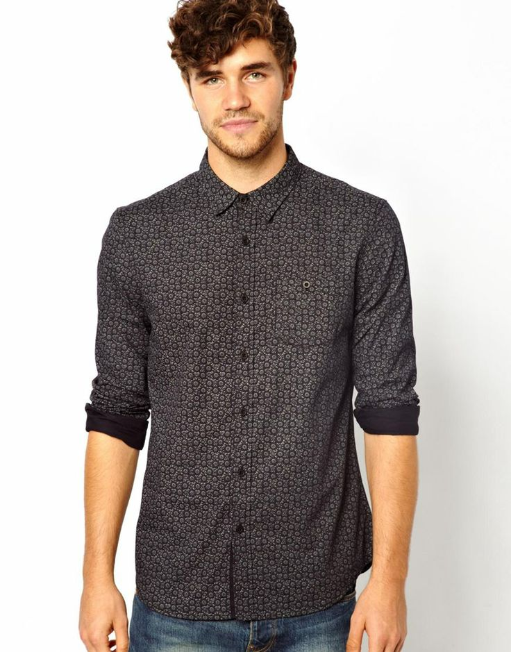 New Look Long Sleeve Shirt with Black Floral Print