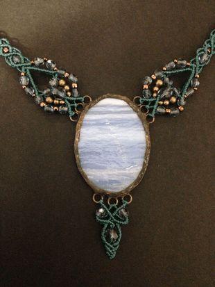 Bluegreen-light blue macrame glass necklace, big oval