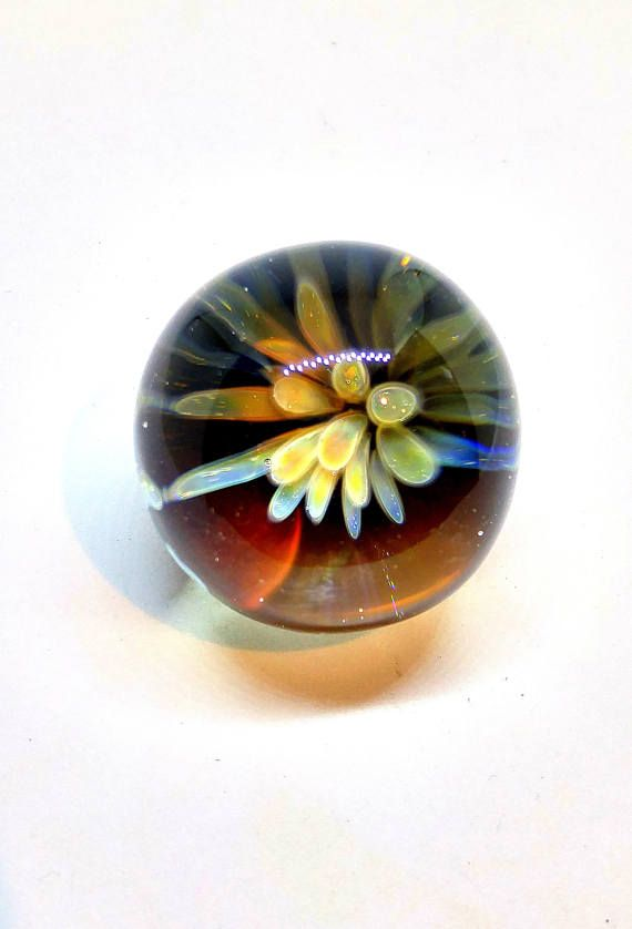 Glass Marble Flower Orb Heady Glass Marble in Yellow and Blues