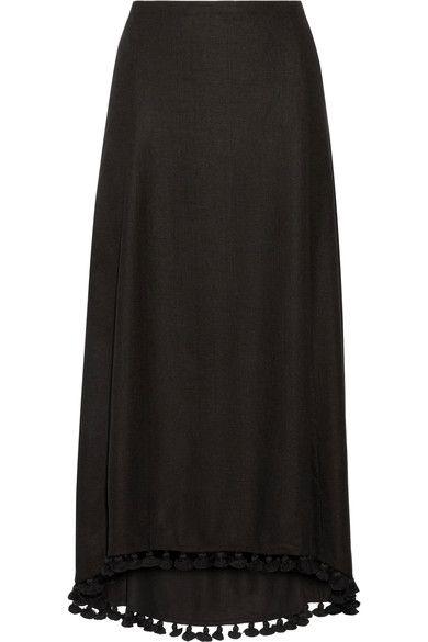 Figue - Matador Tassel-trimmed Silk-blend Midi Skirt - Black - US10