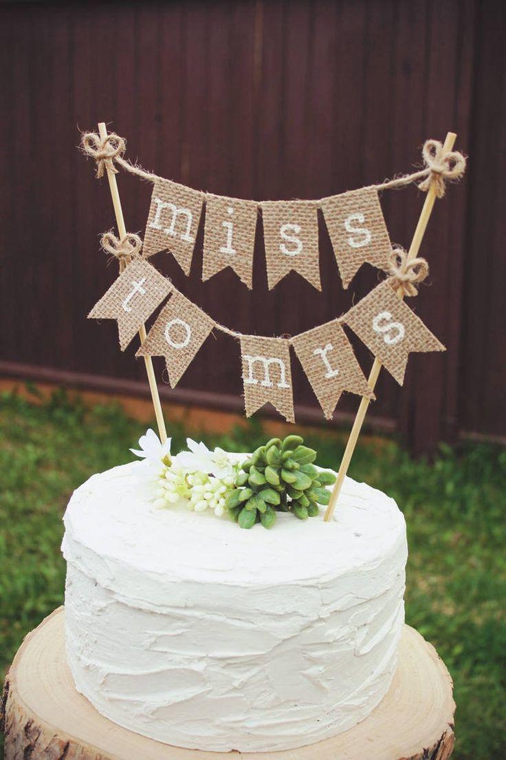 Bridal shower cake topper bride to be burlap bridal
