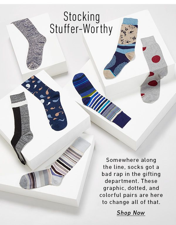 Somewhere along the line, socks got a bad rap in the gifting department. These graphic, dotted, and colorful pairs are here to change all that. Shop Now > 12.22 East Dane