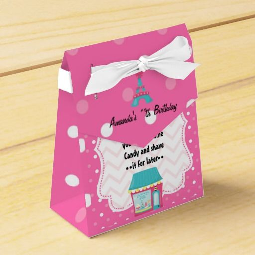 Pink Moustache Paris Birthday Party Personalized Party Favor Box