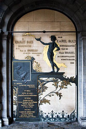 Art Nouveau Memorial to Charles Buls by Victor Horta in The Grand Place Brussels Belgium As a nineteenth century mayor of Brussels Buld led the renovation of the old buildings facing the Grand Place