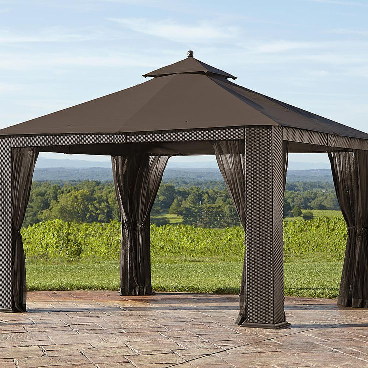Ty pennington parkside 10 39 x 12 39 wicker gazebo outdoor for Outdoor furniture gazebo