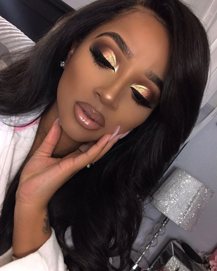 Dramatic Gold and Brown Half Cut crease | Makeup for Black Women | African American Women Makeup