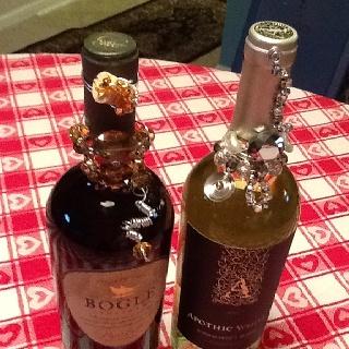 Beaded wine bottles for your wine rack by The Beaded Bottle!