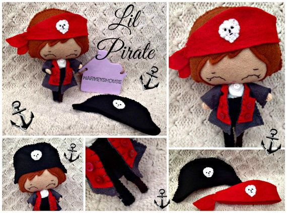Cute Felt Pirate Doll  Handmade Made Pirate by HarveyshouseCrafts