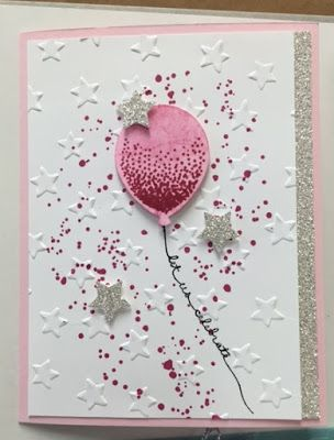 I love to show the versatility of a stamp set, so you can see many different ways to use a set.  So here's another card created by Sue for a display featuring the Balloon Celebration stamp set. With a splattering of Rose Red ink using the Gorgeous Grunge stamp set… Continue reading
