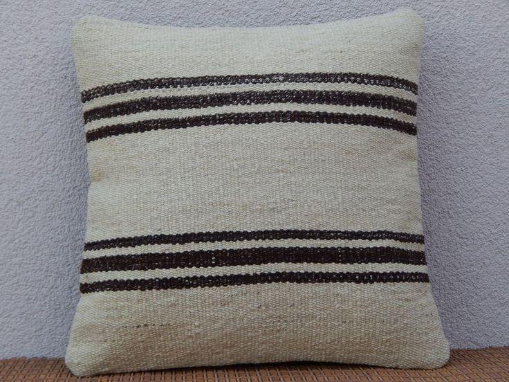 16x16 inch Turkish Boho Kilim Pillow Cover,Vintage French Grainsack Home Decor #Handmade