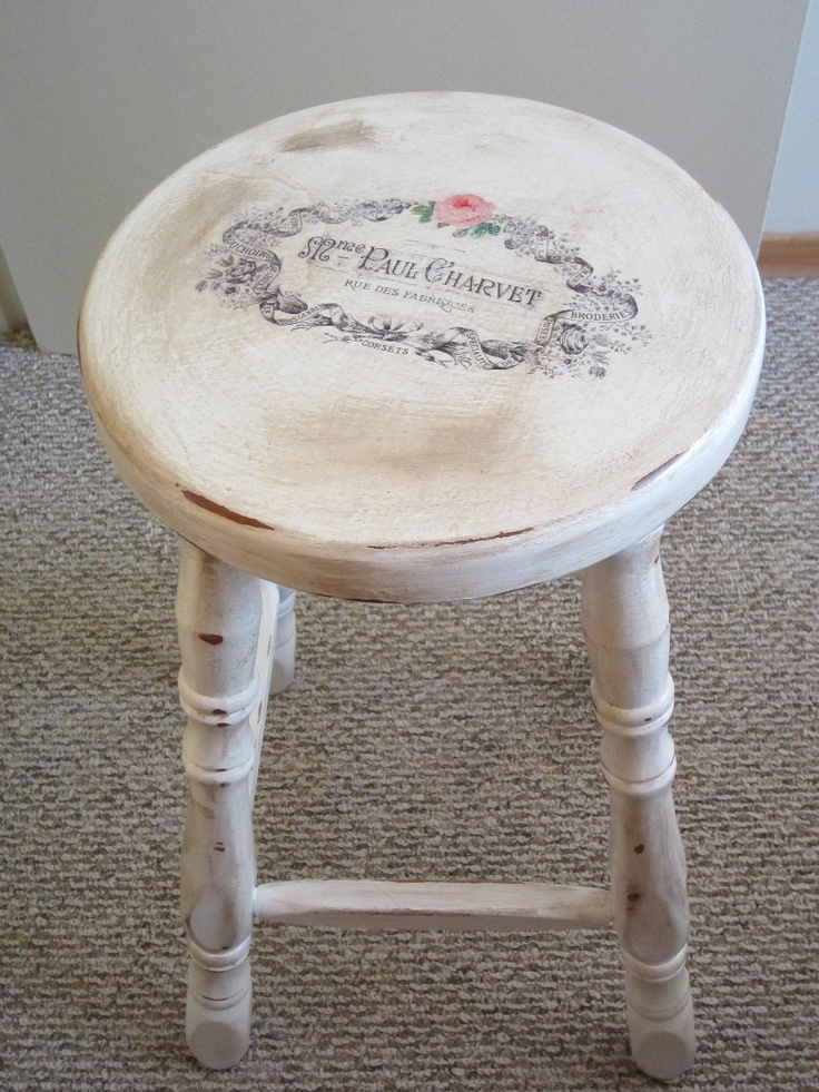 Stool With Waterslide Decal I Refinished. Recycled FurniturePainted WoodPaint  ...