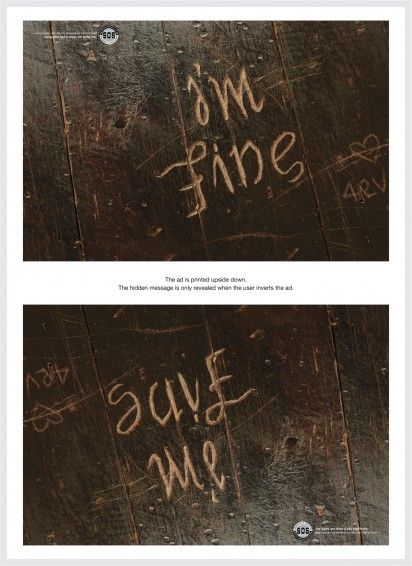 "Wow!!!!!!!!  Samaritans of Singapore - The Hidden Pain 3 ""…we created ambigrams and printed the ads upside down in magazines. At first glance, the reader sees a positive phrase. But when the ad is inverted, the copy reveals a sentiment quite the opposite – revealing the hidden feelings of those who are lost and depressed."" Agency: Publicis, Singapore 2013"