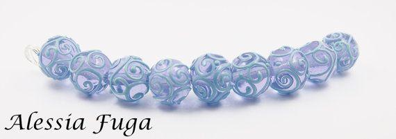 Set perle di vetro alessandrite con spirali di alessiafuga su Etsy