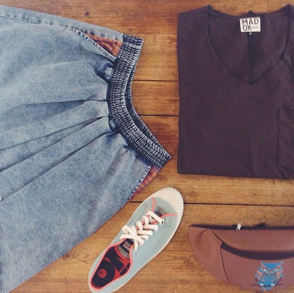 #madox #madoxdesign #essential #owl #komrads #komradinvasion #denim #skirt #brown #wood #wooden