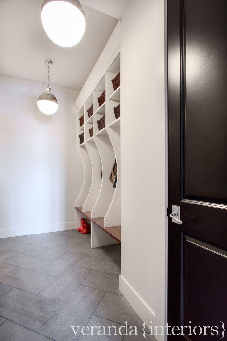 Loving the herringbone tile in this mudroom designed by veranda interiors | featuring the Large Hicks Pendant | TOB5063