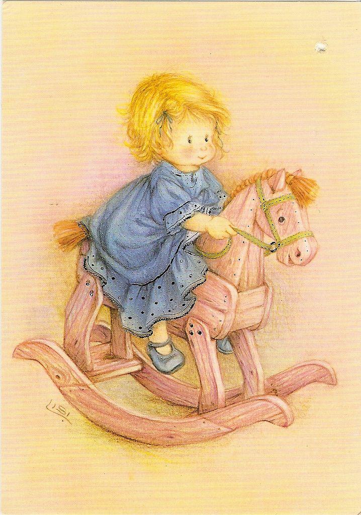 https://flic.kr/p/dZayDV | Girl and a rocking-horse | a postcard by Lisi Martin. PR-kortti, printed in Spain, 200-821763