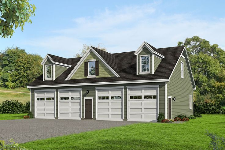 Plan 68482VR: 4-Car Garage With Huge Loft Above