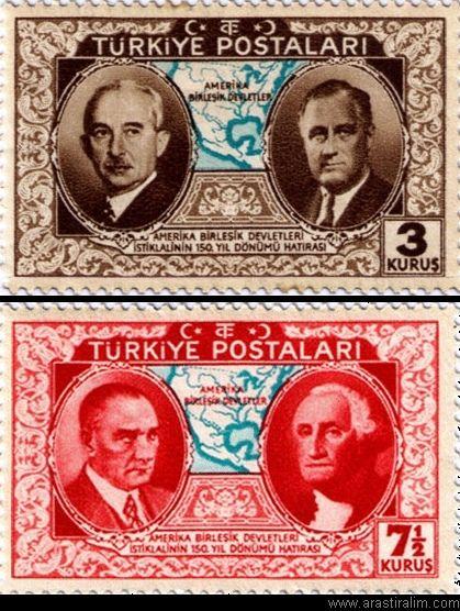 Türk pulu: İsmet İnönü ve ABD Başkanı Roosevelt - ATATÜRK