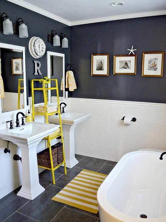 Pink And Navy Bathroom Navybathroomdecor Yellow Bathrooms Home Bathroom Decor