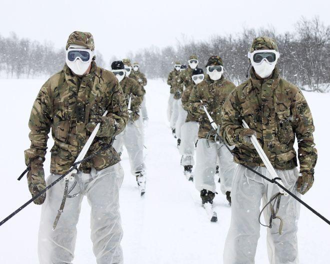 Army Commandos and Royal Marine Commandos training in Norway.