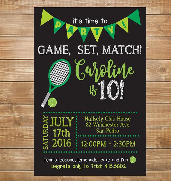 Tennis Birthday Invitations