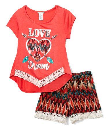Coral Chevron Tee & Shorts - Girls #zulily #zulilyfinds