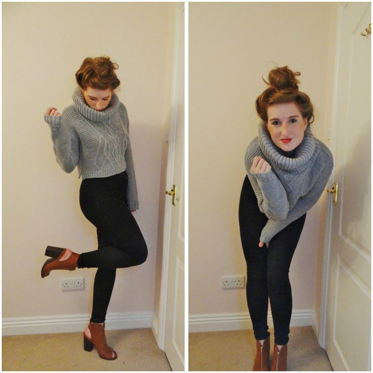 #ootd #fbloggers #fashion #style #cable #knit #missguided #winter #clothing #grey #rollneck #skinnies #jeans #topshop #primark #boots #heels