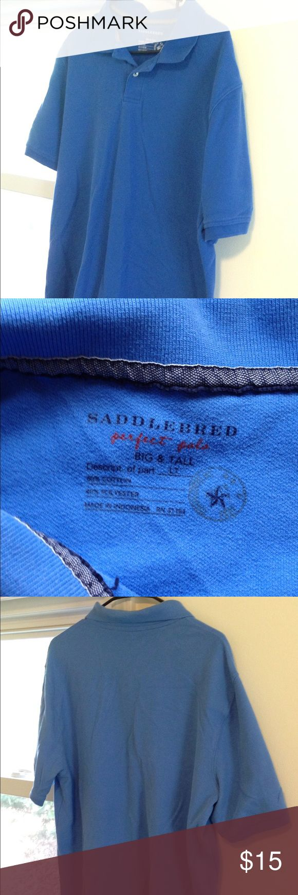 Large Tall Saddlebred Blue Men's Polo Shirt This Saddlebred polo shirt is in great used condition! It is a medium blue color. It's a size LT or Large and Tall Saddlebred Shirts Polos