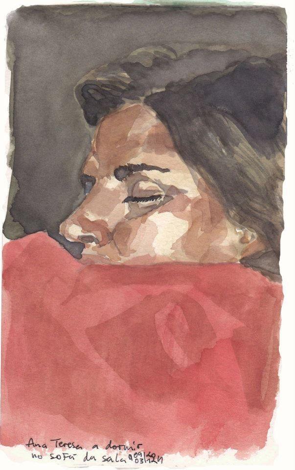Ana Teresa Sleeping (Watercolor on Paper)