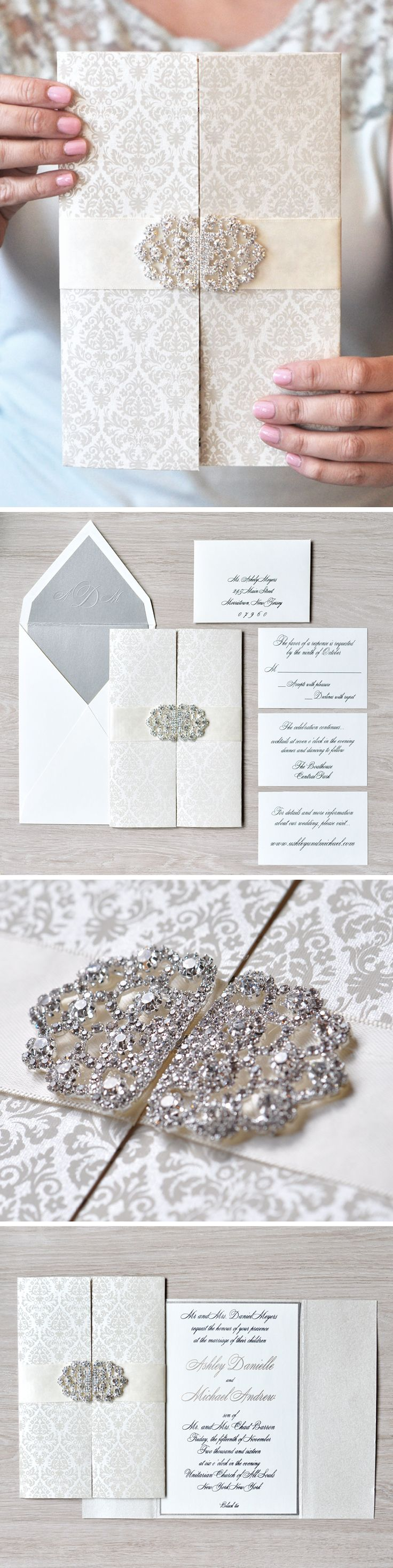 Open up to this #gatefold wedding invitation featuring a darling #damask pattern and stunning crystal brooch! #EngagingPapers