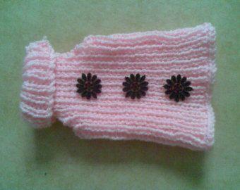 Suéter del perro, perro a puente, bebé de Color rosa con detalle de flor negra, ropa para mascotas