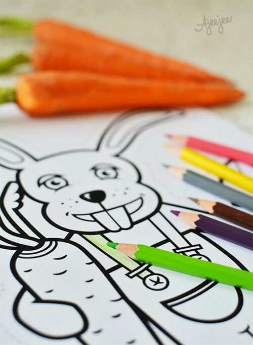 Rabbit colouring sheet - printable by Ajeejee