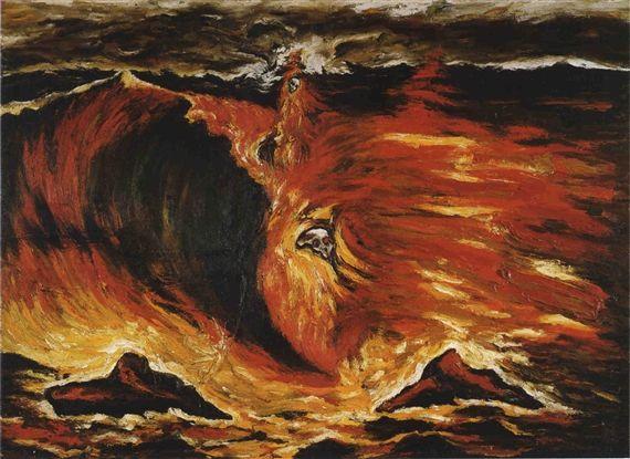 Enzo Cucchi - Un Sospiro di un onda, 1983, Oil on...