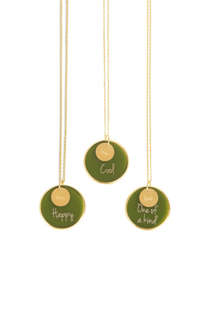 Gold plated silver chain and plexiglass '' Be '' necklaces