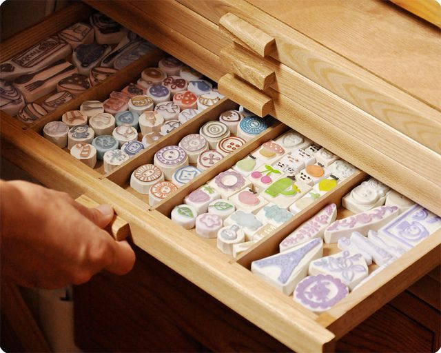 Oh my!!! Drawer of hand carved rubber stamps by Memi The Rainbow, via Flickr