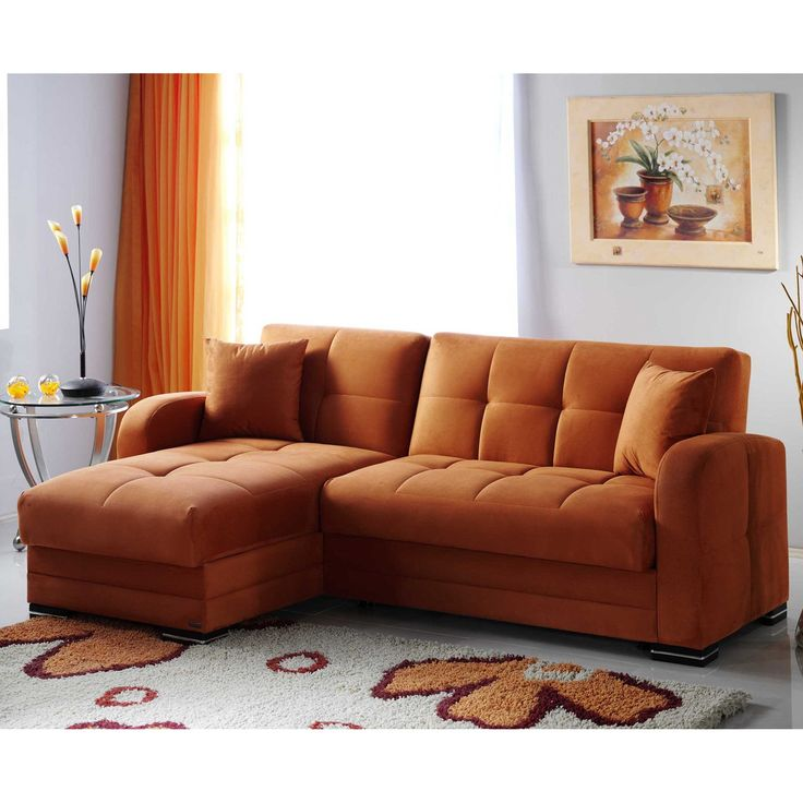 Kubo Sectional Sofa Bed In Rainbow Orange F