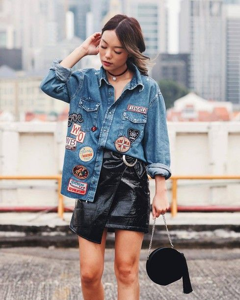 Shirt: tumblr denim patch patched denim blue mini skirt black leather skirt leather skirt black