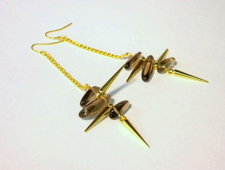 spiky earrings, smoky quartz