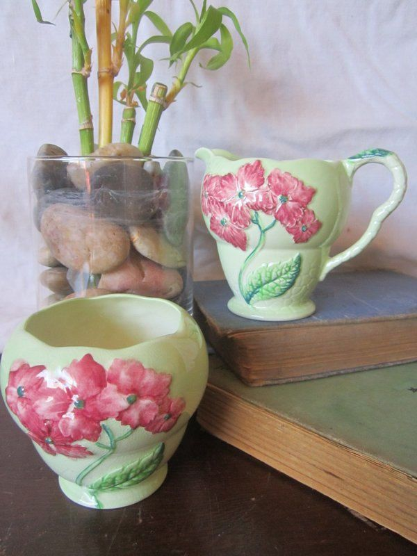 2 pc Carlton Cream and Sugar Vintage Kitchenware carlton ware Carltonware made in England australian design Pink Flowers on Green - pinned by pin4etsy.com
