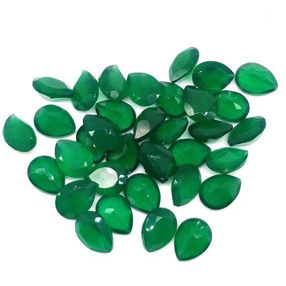 14x10 MM PEAR CUT NATURAL GREEN ONYX  ALL NATURAL AAA  CAB
