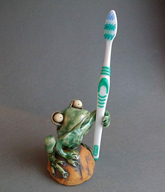 Whimsical Ceramic Frog Holder for Toothbrush Pen by RudkinStudio
