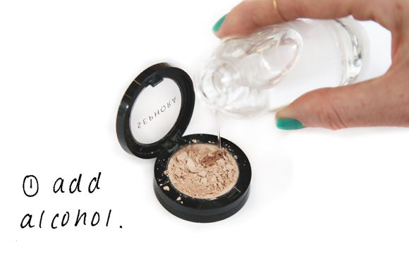 How to fix a broken eyeshadow.  1. Pour a little rubbing alcohol into your eye shadow container — just enough so that the shadow is saturated. 2....