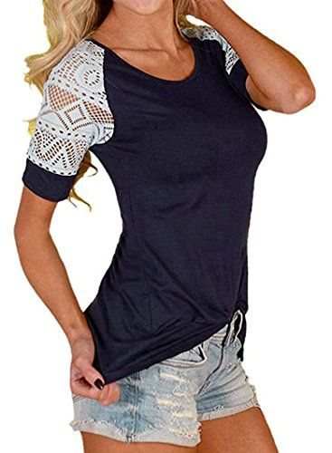 Special Offer: $12.99 amazon.com 1Raglan Short Sleeve Casual T-Shirts.Lace sleeve is the bright spot in modelling, easily create beautiful female figureShort Sleeve ,CrewNeck,Slim Fit. Nice for relaxed Holiday,Daily,Party,Beach!Fashion Summer Blouses for Pretty girls,Perfect Wear With Shorts...