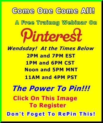 You already know about Pinterest. But, do you know how to use it to market your're business? Wend March 28th, at 2:00PM and 7PM Eastern Standard time, a HUGE LIVE webinar will take place to show the in's and outs of the fastest Social Network to reach 10 Million members ever! Yes, I did say EVER, and that includes powerhouses like Facebook, Google+, and Twitter. Click On this Image 2 Register for it. http://imlivewebinar.com/pinterest #pinterest #marketing