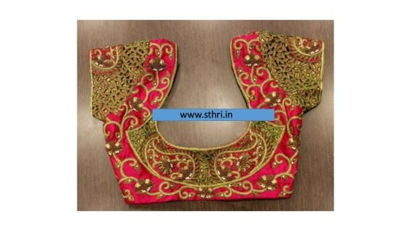 Sthri ladies tailoring in chennai will Stitch beautiful pink blouse with Embroidery  ladies tailoring in kodambakkam,ladies tailoring in chennai