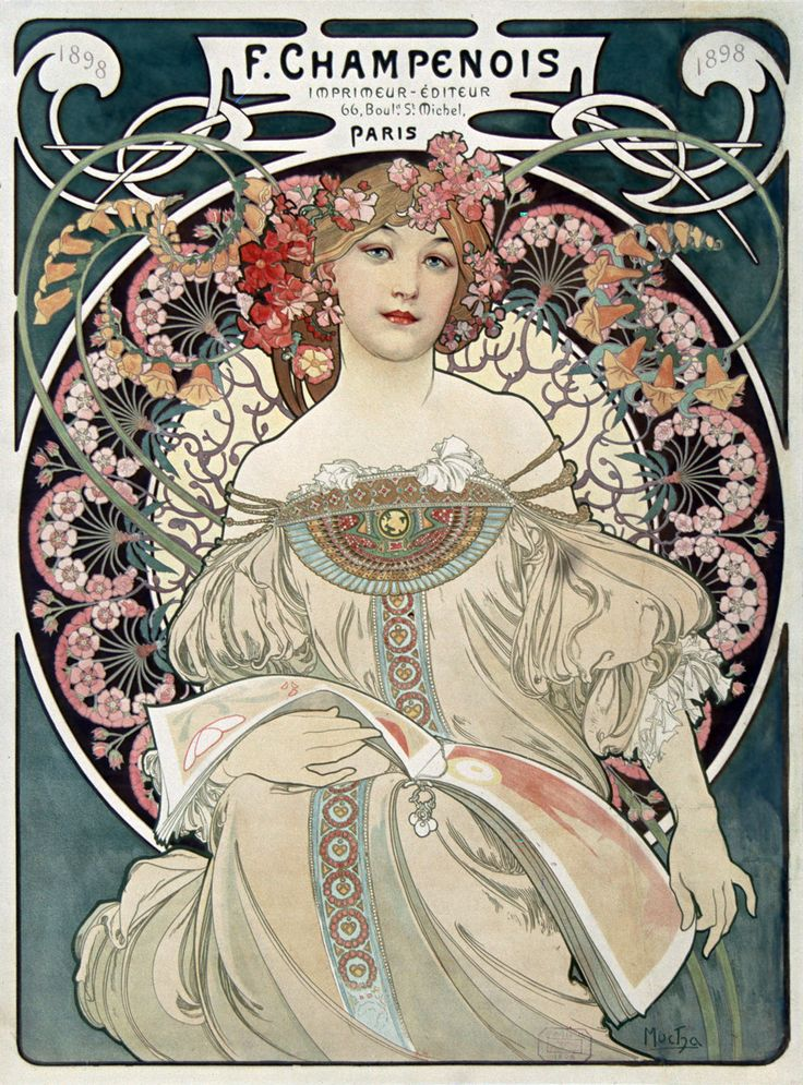 """Here is a detail from a photo of an 1898 poster advertising Mucha's primary printer and lithographer Ferdinand Champenois, of 66 Boulvd. St. Michel, Paris. The beautiful peasant woman in a neoclassical gown, the floral motif (especially in the hair) and the classical design of the gown (in this case Egyptian) are typical Mucha design elements. It may very well the most beautiful ad for a lithographer ever."""