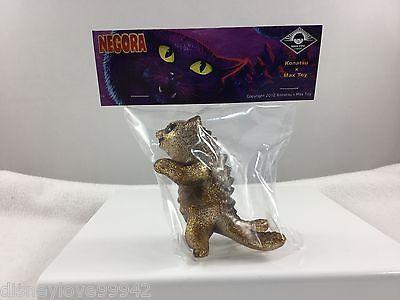 Max Toy Co vinyl Clear GOLD Glitter Kaiju Negora CAT Mark Nagata 3.75 NIP