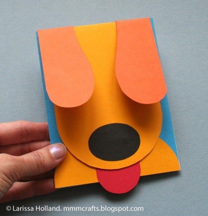Из бумаги собака на открытке
