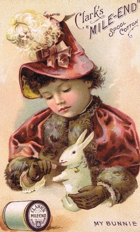 "Clark's Mile End Cotton ""My Bunnie"" trade card."