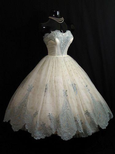 Vintage 1950's 50s STRAPLESS Ivory Blue Chiffon Organza Party Prom Wedding DRESS | eBay